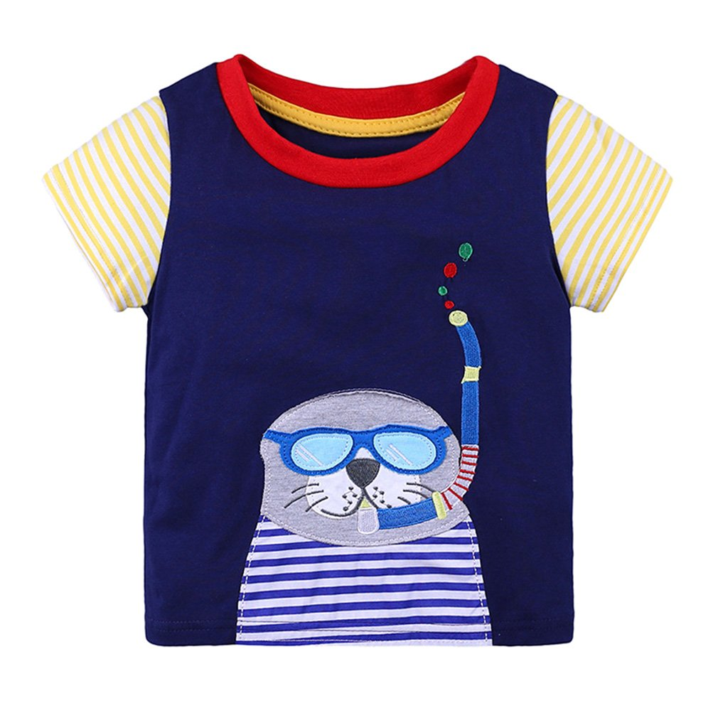junkai Summer Childrens Short Sleeve Print T-Shirt Age 18-24M 2-6 Years Old Baby Kids Tops Girl Boy Shirts B180605KT2-ka