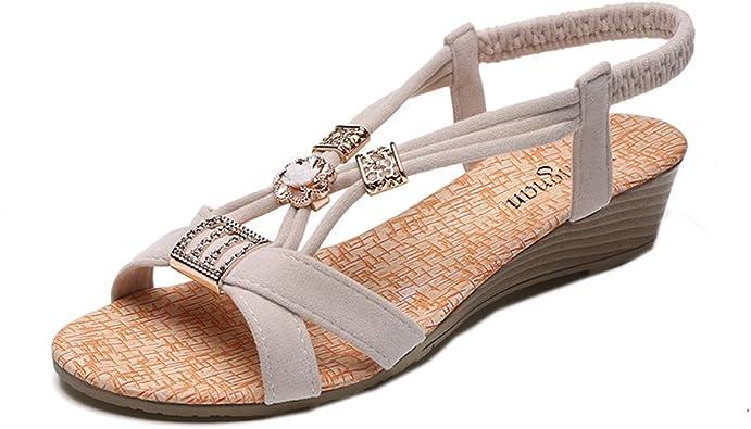 Sandales Femmes Plates, LONUPAZZ Tongs Chaussures ÉTé Nu
