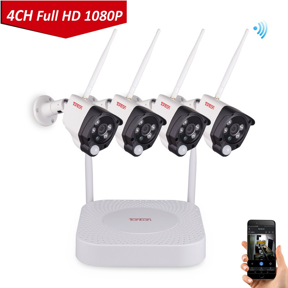 1080P Wireless Security Camera System, Tonton 4CH Full HD 1080P Network WiFi NVR and 4PCS 2.0MP 1080P Outdoor Indoor Waterproof Bullet Cameras with PIR Sensor and Audio Recording NO HDD