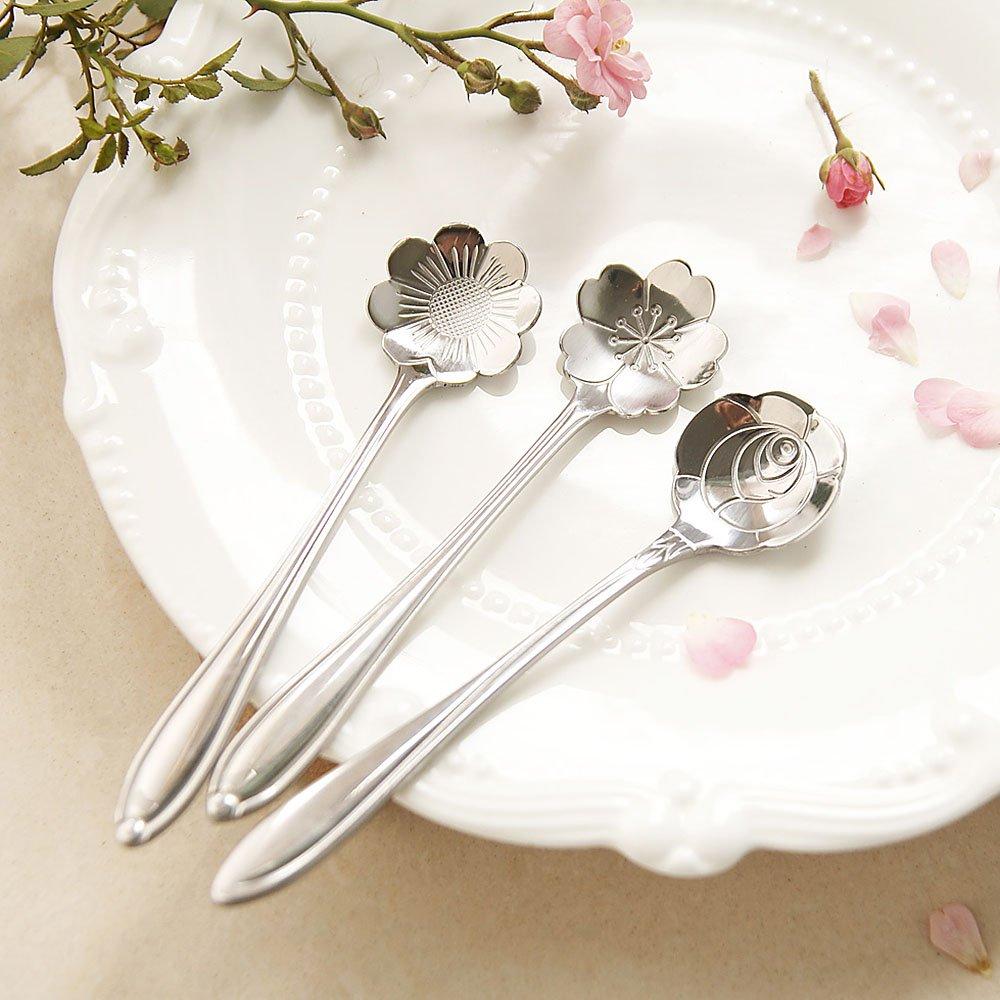 Belle Fleur Sucre Cuill/ère /à Caf/é Acier Inoxydable Cuiller /à Th/é Style:rose