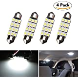 578 LED Bulbs, LEDKINGDOMUS 4 Pcs Festoon Led Bulb 41mm 42mm 12 SMD 560 211 212-2 Car Map Door Dome Interior Light, White Color