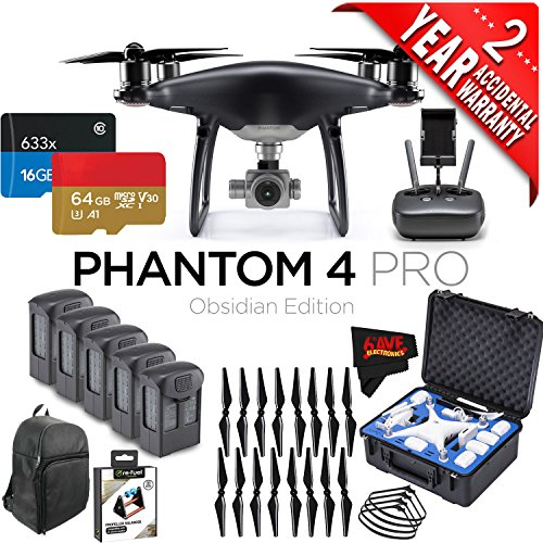 DJI Phantom 4 Pro Obsidian Edition Quadcopter + 5 Batteries + 16 Propellers Bundle with 2 Year Accidental Warranty Coverage