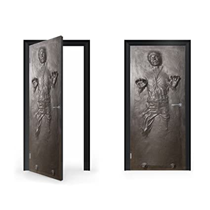 Doorwrap han solo in carbonite vinyl sticker for door