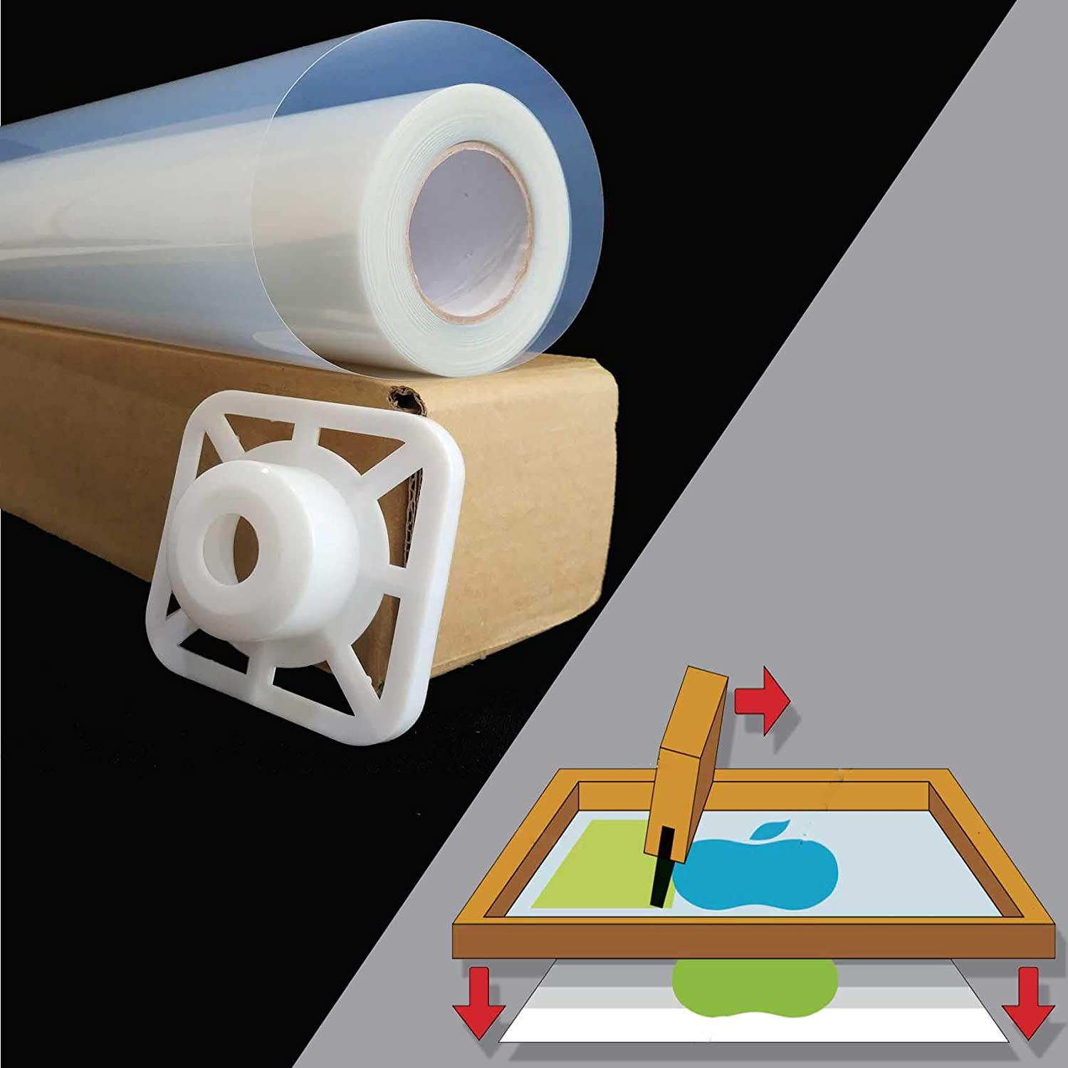 Roll,Premium Waterproof Inkjet Instant-Dry Transparency Positive Silk Screen Printing Film,Great for EPSON,HP,Canon Water-Based Dye and Pigment Inks Printers 0.33m x 30m 13 inches x 100ft