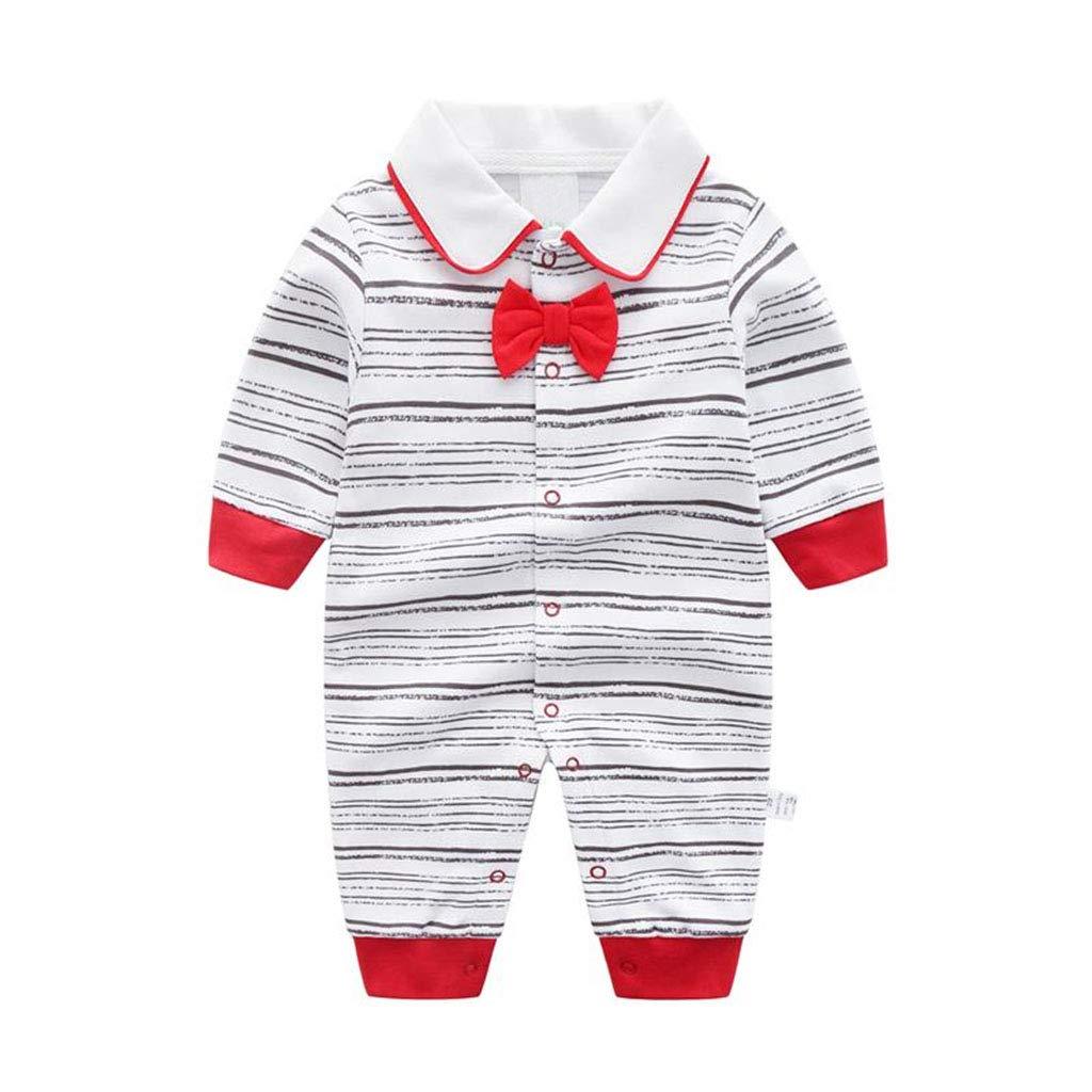 Baby Strampler Langarm Pyjama Baumwolle Overalls Gentleman mit Bowknot Outfits 0-12 Monate