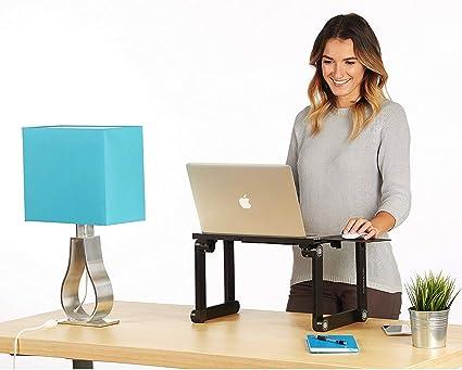 Height Adjustable Laptop Riser in White - Standing Desk rises up ...
