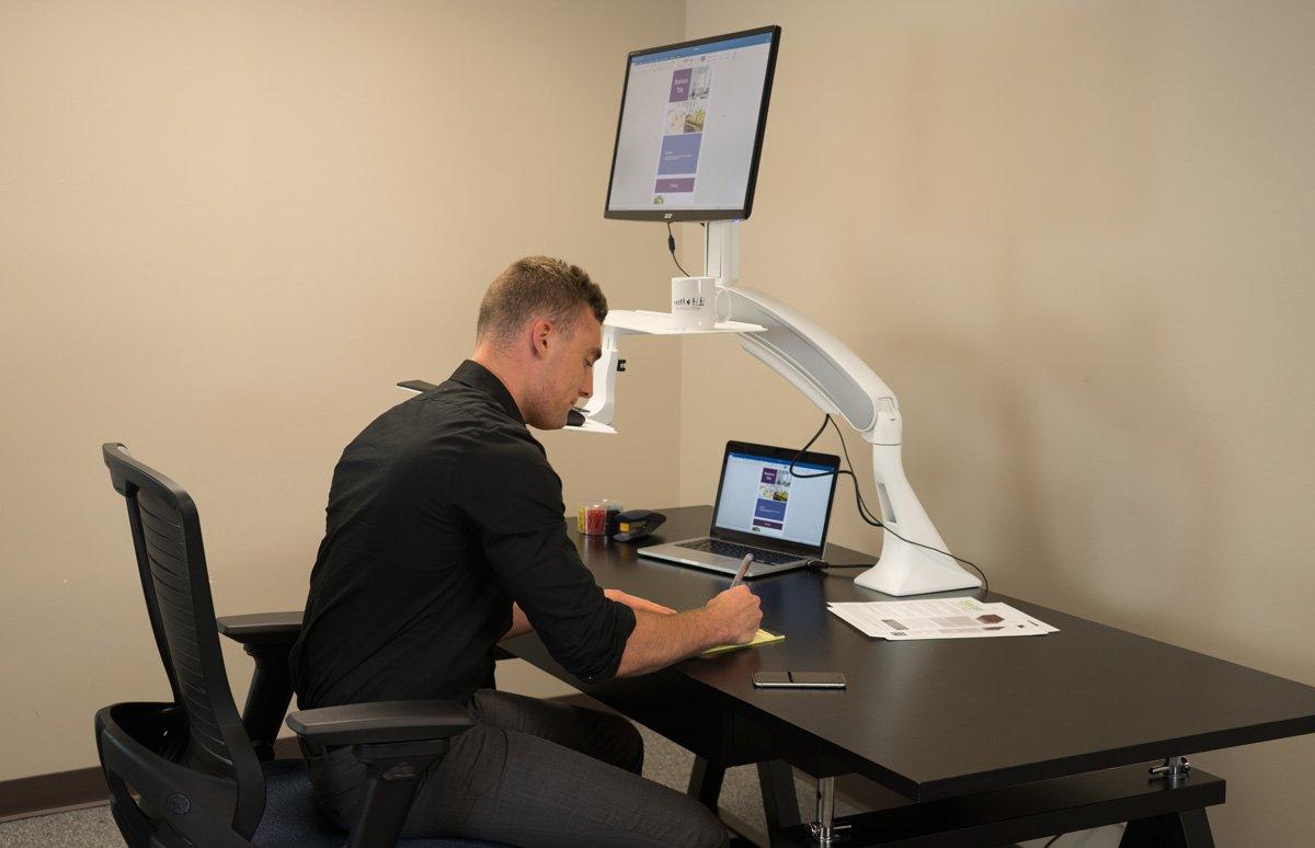 Ergotron workfit d sit stand desktop workstation radius office - Amazon Com Cadence Standing Desk Converter Single Monitor White Office Products