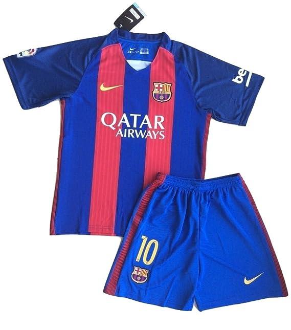 2016/2017 Messi # 10 fc barcelona camiseta & pantalones cortos para niños/jóvenes, Turquoise, Blue: Amazon.es: Deportes y aire libre