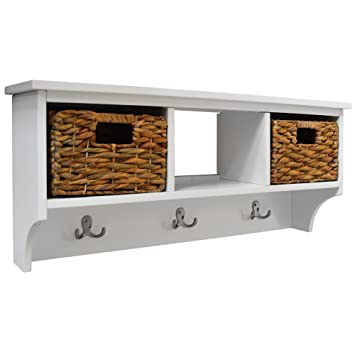 CANTERBURY Wall Storage Coat Rack With Baskets White Amazonco Interesting Wall Coat Rack With Baskets
