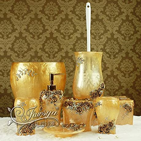 JinRou European Antique Bathroom Kit Wedding Gifts Resin Bathroom Accessories