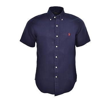 1211453a21e Ralph Lauren Chemise Manches Courtes Bleu Marine en Lin pour Homme ...