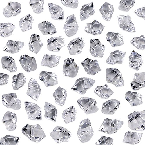 500 Crystal Piece - Neworkg 500 Pieces Acrylic Clear Ice Rock Crystals Treasure Gems for Table Scatters, Vase Fillers, Event, Wedding, Birthday Decoration Favor, Arts & Crafts