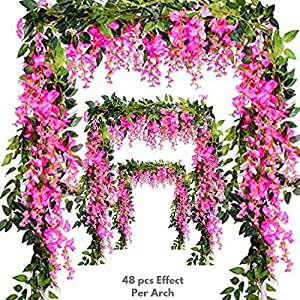 Miss Bloom Artificial Wisteria Vine - 12-Pack 3.6 Ft Spring Hanging Flowers Décor | Silk Plants Garlands for Sweet Home Kitchen Wall |Fake Plant Rattan for outdoor Wedding Party Decorations (Rosepink) 46