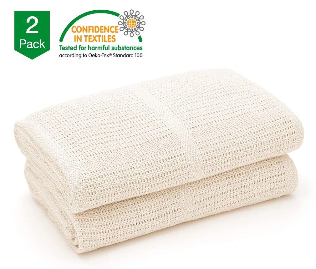 Bloomsbury Mill - Mantas Celulares Extrasuaves Para Bebé - 100 % Algodón Puro - Para Carrito, Capazo o Viajes - Juego de 2 - Crema: Amazon.es: Bebé