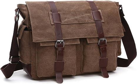 """Uomini Canvas Pelle Borsa A Tracolla Militare 15/"""" Laptop a Tracolla Scuola Messenger Bag"""