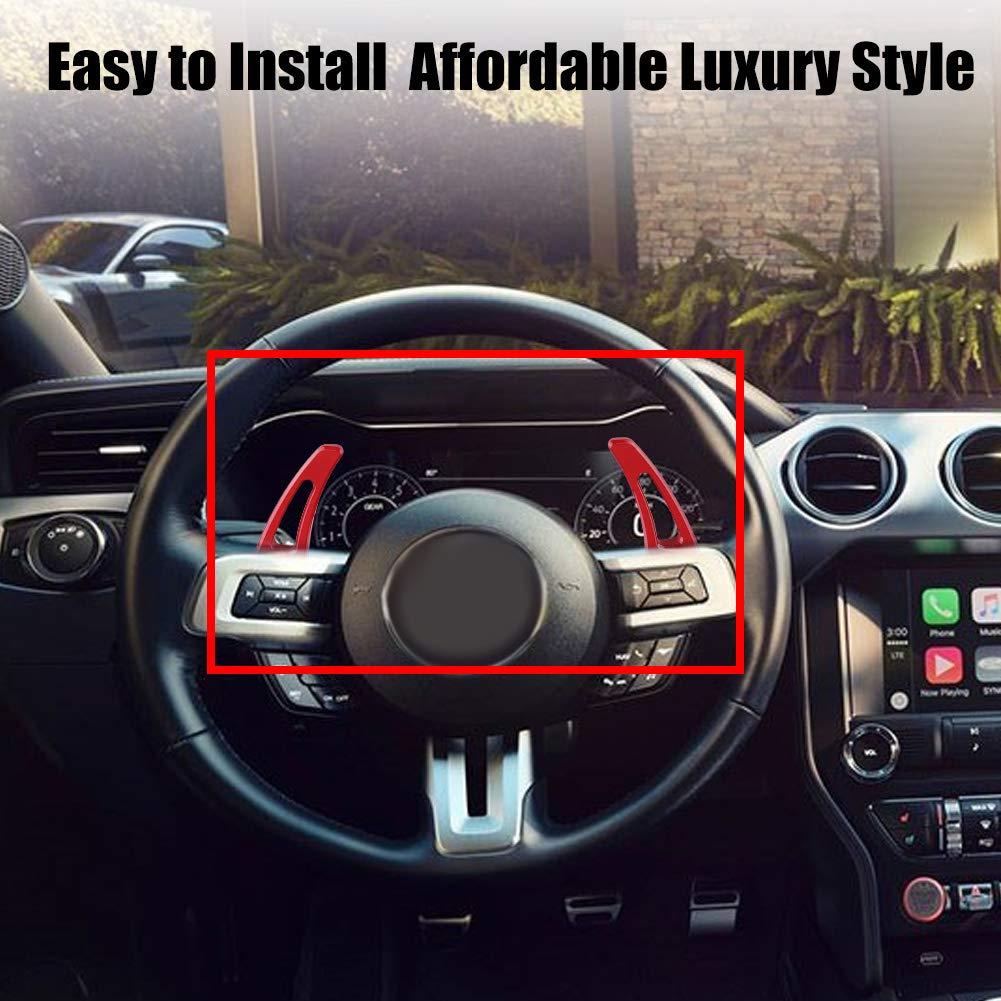 Auto Volante Paleta de Cambio de la Cuchilla Cubierta Decorativa Ajuste de Aleaci/ón de Aluminio Volante de Cambio de Paleta para Mustang 2017-2018