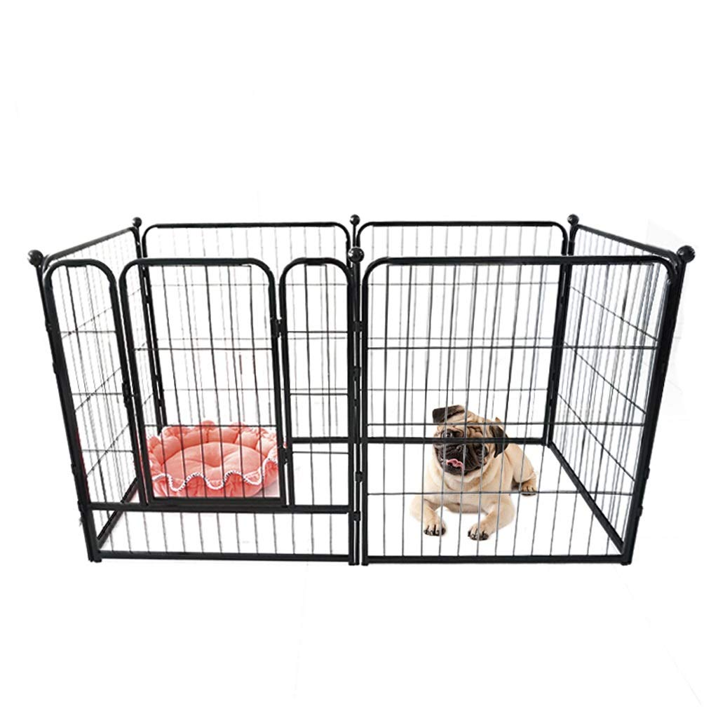 BLACK Heavy Duty Puppy Play Pen Rabbit Enclosure ,Pack of 6,140  70  80cm,Length Per Piece  Length 70cm Width 80cm (color   Black)