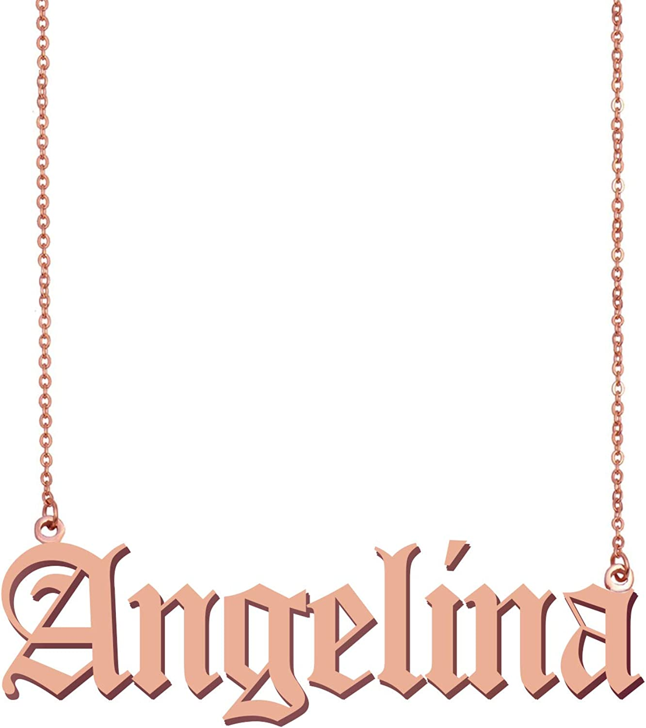 HUAN XUN Peronalized Pendant Old English Custom Name Necklace Best Gifts for Mother Grandma Angelina