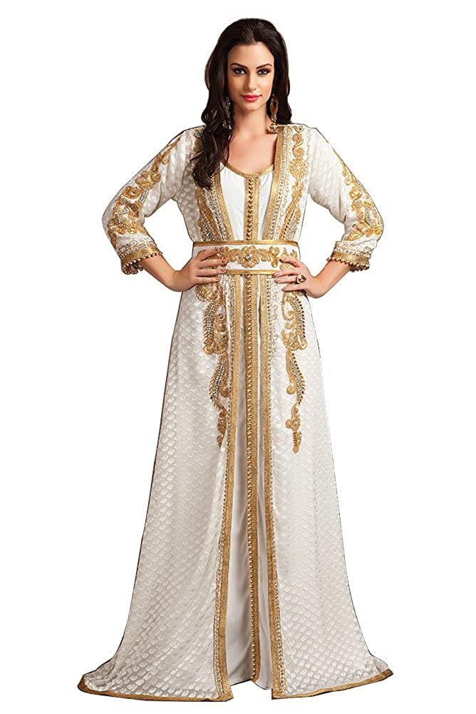 df9f9f765ab Kolkozy Fashion Women s Party Wear Handmade Moroccan Style Kaftan White at  Amazon Women s Clothing store