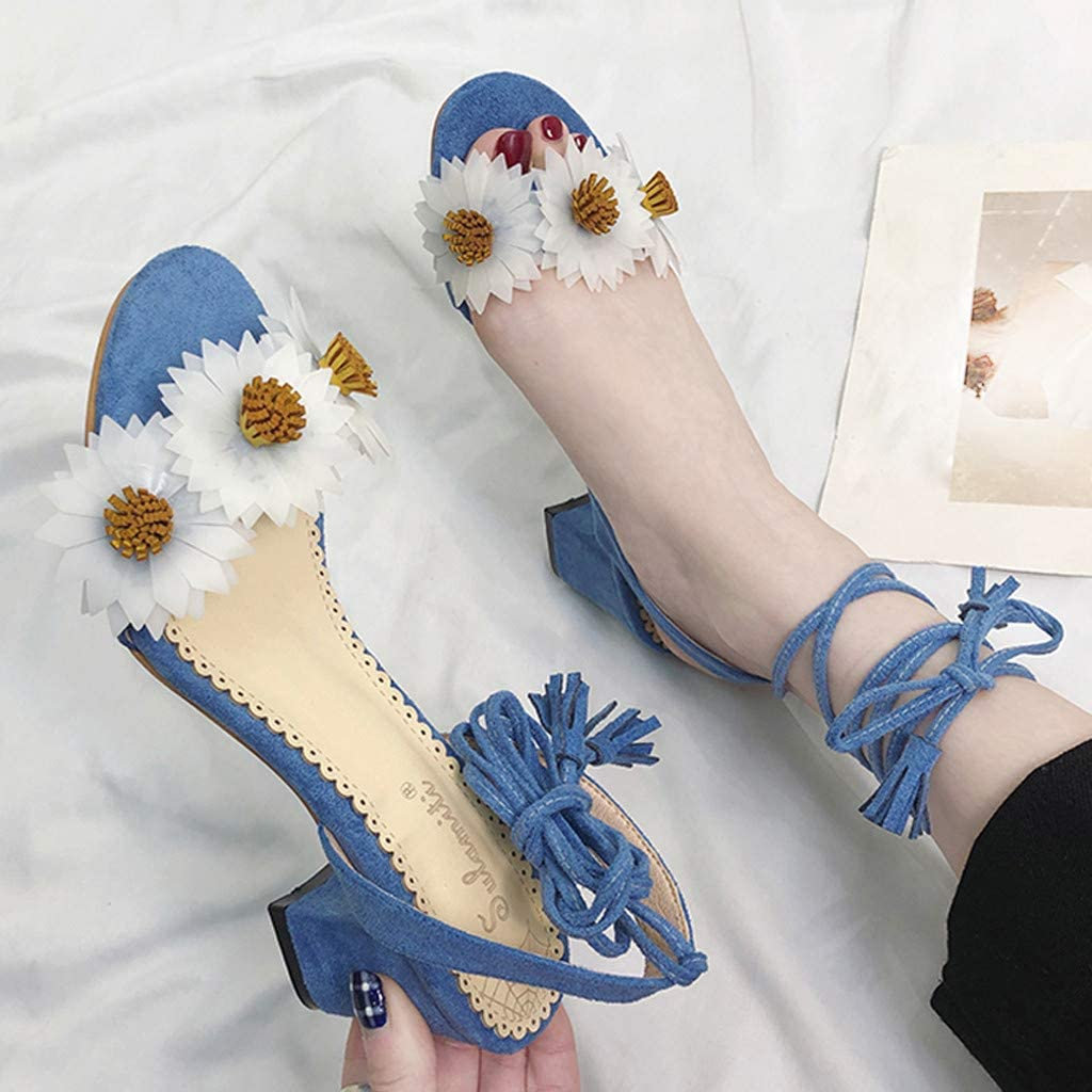 Bohelly Sweet Sandals Summer Open Toe High Heel Shoes Flowers Lace-Up Roman Sandal Beach Sandals Slippers