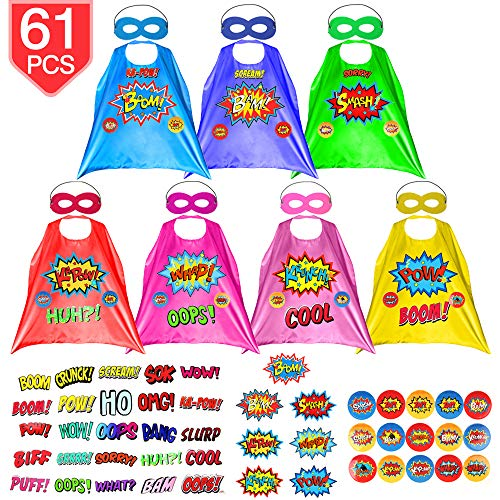 PROLOSO 7 Pack Children Super Hero Capes and Felt Masks with Superhero Stickers Kids Themed Party Costumes Dress Up -