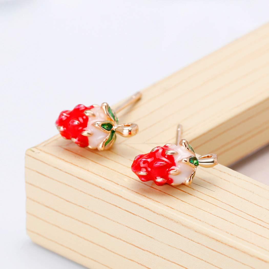 HANMAX Women Christmas Jewelry Decor Girls Christmas Strawberry Earrings