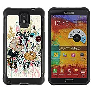 KROKK CASE Samsung Note 3 - abstract art leaves composition painting - Rugged Armor Slim Protection Case Cover Shell