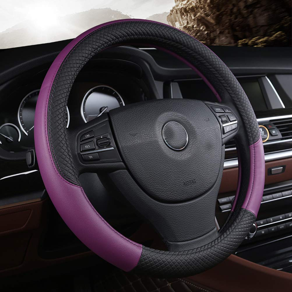 Microfibre leather steering wheel cover Wavy Line Splice X-pattern black red