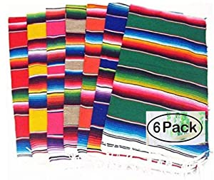 Del Mex (TM) Mexican Serape Blanket Table Runner- Set of 6