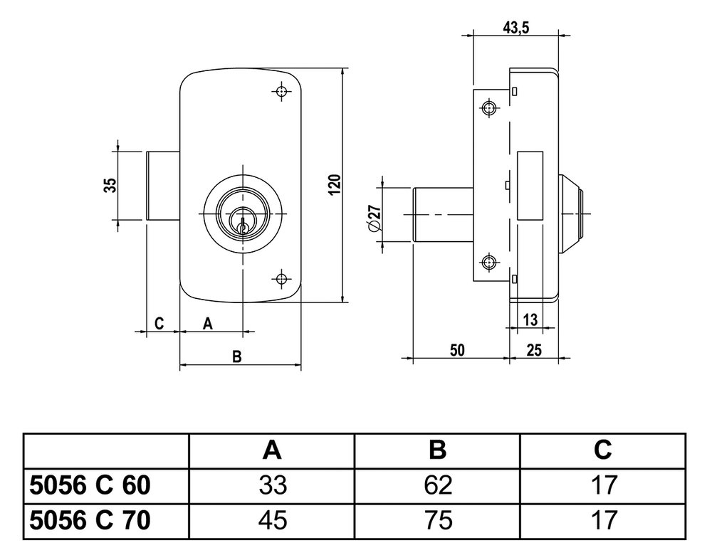 Oro Lince 3017160 Cerradura 5056-CP// 60 Derecha