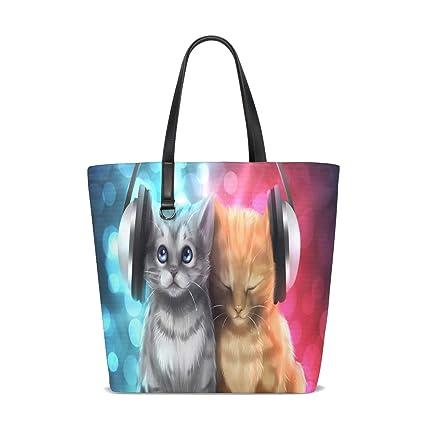 Amazon.com | Music Lover Cats Tote Bag Purse Handbag Womens ...
