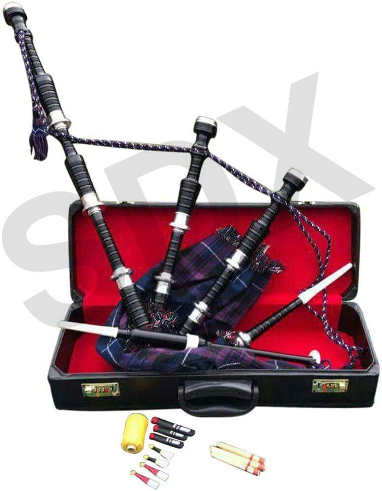 SDX New Highland Rosewood Bagpipe Royal Stewart Tartan Full Set Silver Mounts Free Carrying Case with Tutor Book