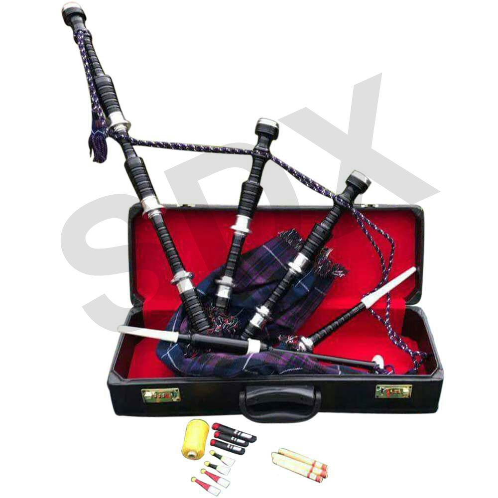 SDX Highland Rosewood Bagpipe Pride of Scotland Full Set Silver Mounts Free Carrying Case with Tutor Book SDX Sports POS-BLK2-CA