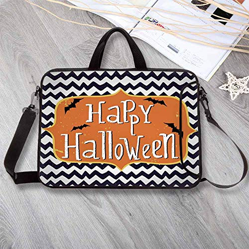 Halloween Printing Neoprene Laptop Bag,Cute Halloween Greeting Card Inspired Design Celebration Doodle Chevron Decorative Laptop Bag for 10 Inch to 17 Inch Laptop,15.4
