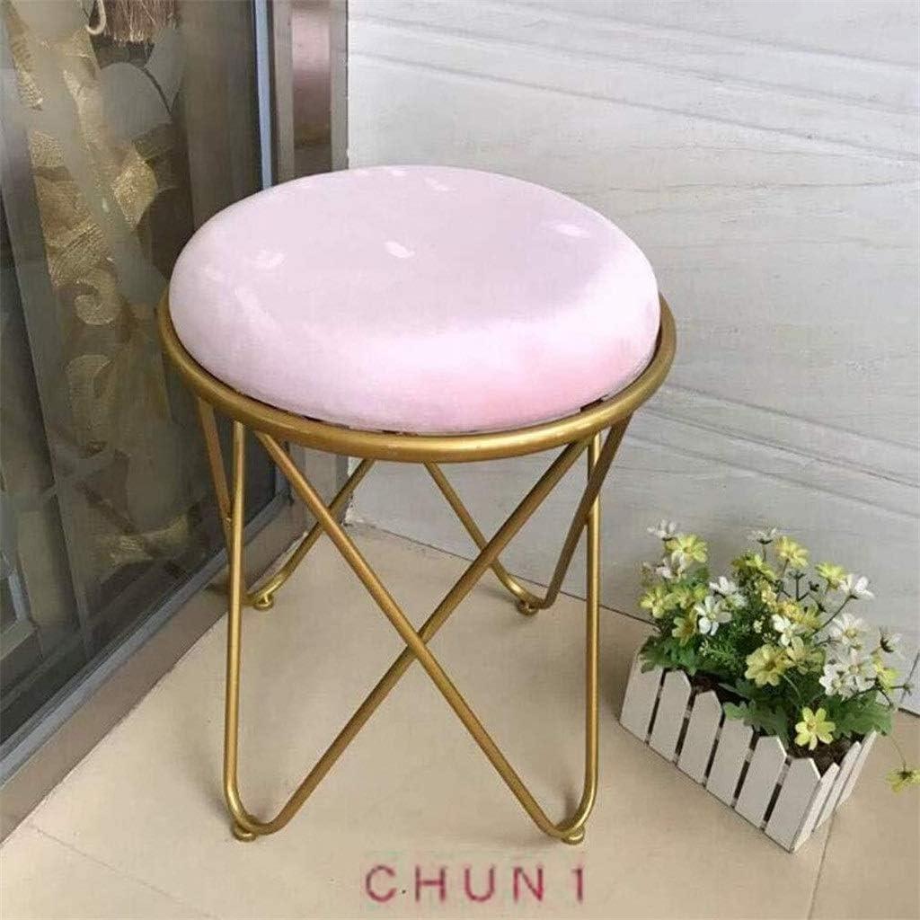 CHU N1 Small Round Stool, Upholstered Velvet with Golden Iron Base Makeup Stool Bedroom Furniture Vanity Stool 1215 (Size : L2) 61zhuvsgfiL