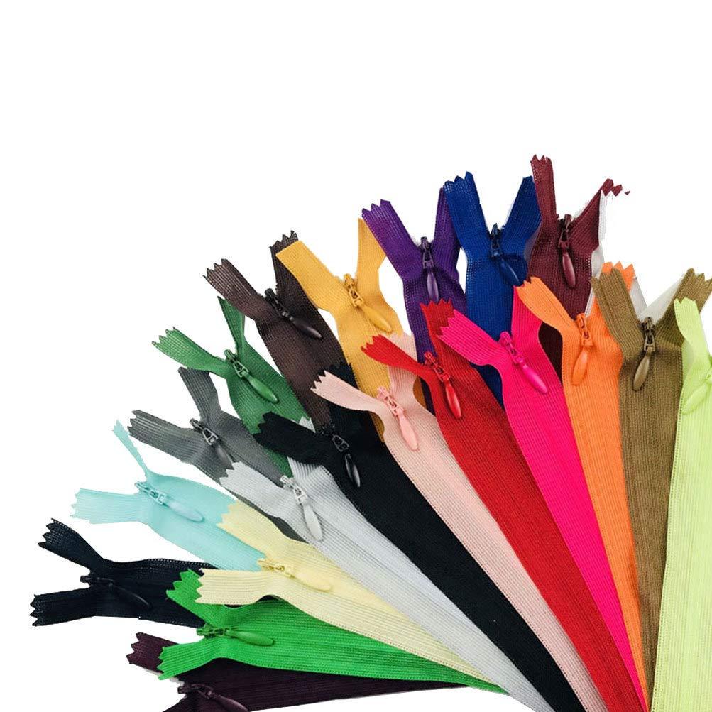 Artibetter 23 piezas mezclan cremalleras de bobina de nylon cremalleras de costura cremalleras invisibles herramientas de alcantarilla personalizadas 25 cm