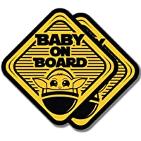 EPIC Goods Cute Baby On Board Large (5x5) Vinyl Decal Stickers, 2-Pack Safety Sign Gift - for Car Window, Truck, Van…