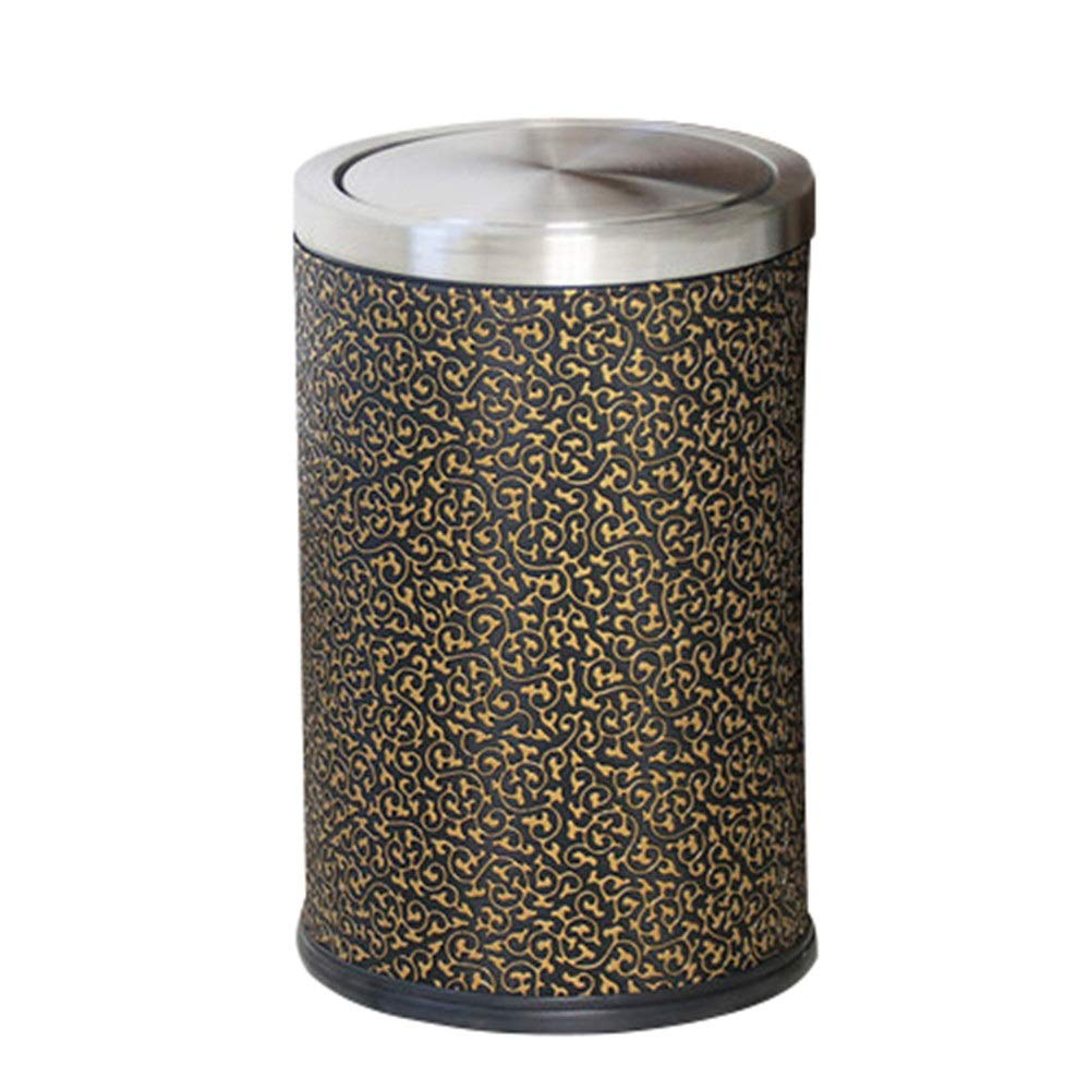 Trash can Stainless Steel Trash Compact Cylindrical Garbage Cans Can Durable Garbage Container Bin for Office Bathroom Kitchen Cabinet Outdoor Indoor for Bathroom Kitchen Office Home Bedroom by Yuybei-Home