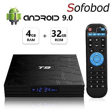 Sofobod T9 Smart TV Box Android 9.0 4GB RAM+32GB ROM Quad Core/64 bits/BT4.0/H.265/3D UHD 4K Caja /2.4G Wifi/: Amazon.es: Electrónica