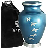 MEILINXU Funeral Urn by Cremation Urns for Human Ashes Adult and Memorial - Hand Made in Brass & Hand Engraved - Display Burial Urn at Home Or in Niche at Columbarium (Aria Birds Blue Large Urn)