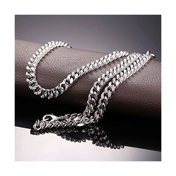 """U7 6mm Wide Curb Chains Hip Hop Jewelry Punk Copper Based Rose Gold/Platinum/18K Gold Plated Necklace, 18-32"""""""