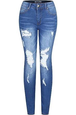 7419191a684d Amazon.com: BodiLove Women's Stretchy 5 Pocket Skinny Distressed Denim Jeans:  Clothing