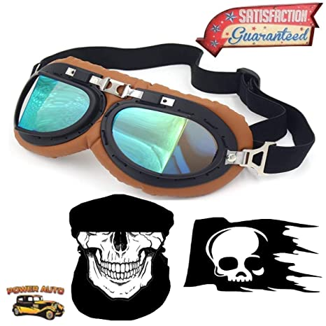 64766dbe844 Amazon.com  Power Auto Vintage Motorcycle Goggles UV Steampunk Sunglasses -  Mask   Decal - Brown  Automotive