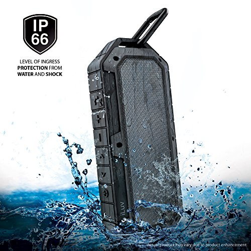 [IPX6 Waterproof Shockproof Dustproof] Collision by iLuv, Rugged Water Resistant Outdoor Bluetooth Speaker for Extreme Sports & Activities with a Durable Carabineer for Smartphones