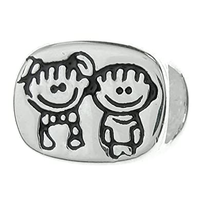 237cb2539 925 Sterling Silver Happy BoyGirl Brother and Sister Siblings with Smile  Face Love Family Bead For European Charm Bracelets: Amazon.co.uk: Jewellery