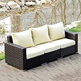 Sliverylake 3 PCS Outdoor Wicker Patio Furniture Sofa Set Loveseat w/ Cushions
