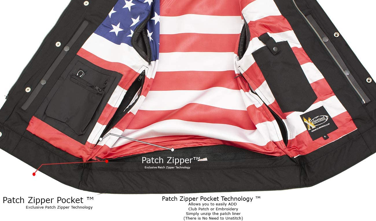 12X-Large Xelement XS6665 Old Glory Mens Leather Vest with Red Stitching and USA Inside Flag Liner