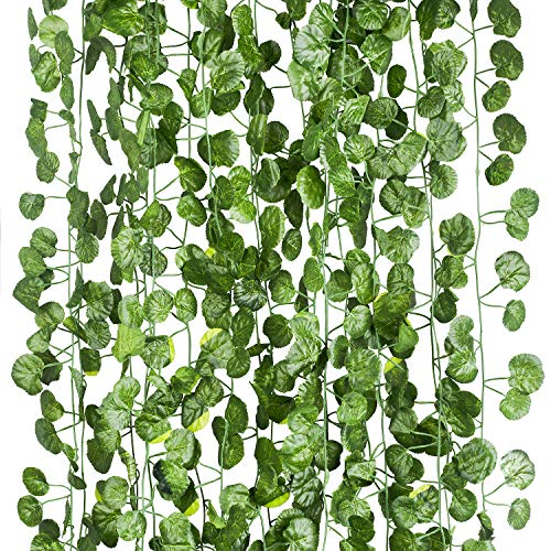 - 12 Pack (Each 82 inch) Artificial Greenery Fake Hanging Vine Plants Leaf Grape Leaves Garland Hanging for Wedding Party Garden Outdoor Greenery Office Wall Decoration