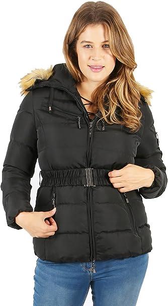Lovedrobe Women/'s Plus Size Blue Belted Coat With Fur Hood