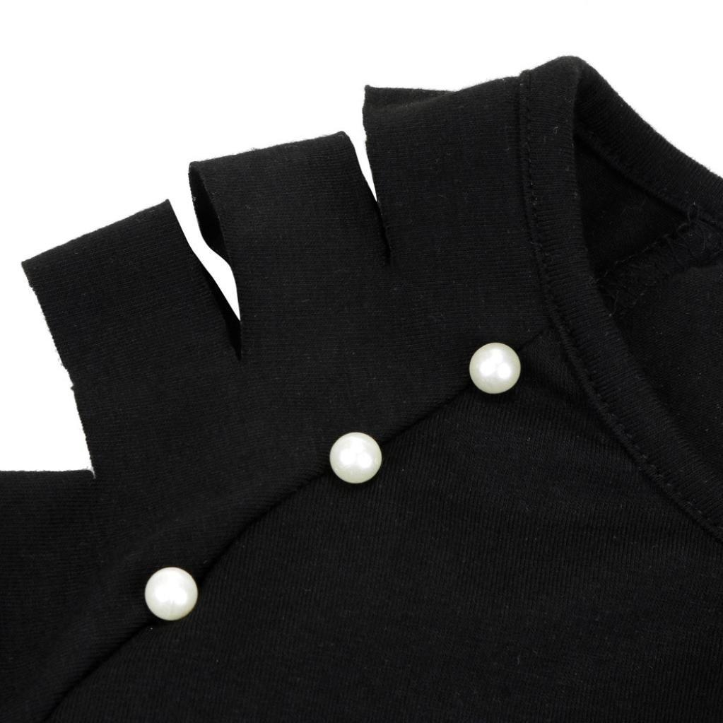 Tefamore Femmes Fashion Blouse O-Cou Déchiré évider Manches Perlées T-Shirt Tops